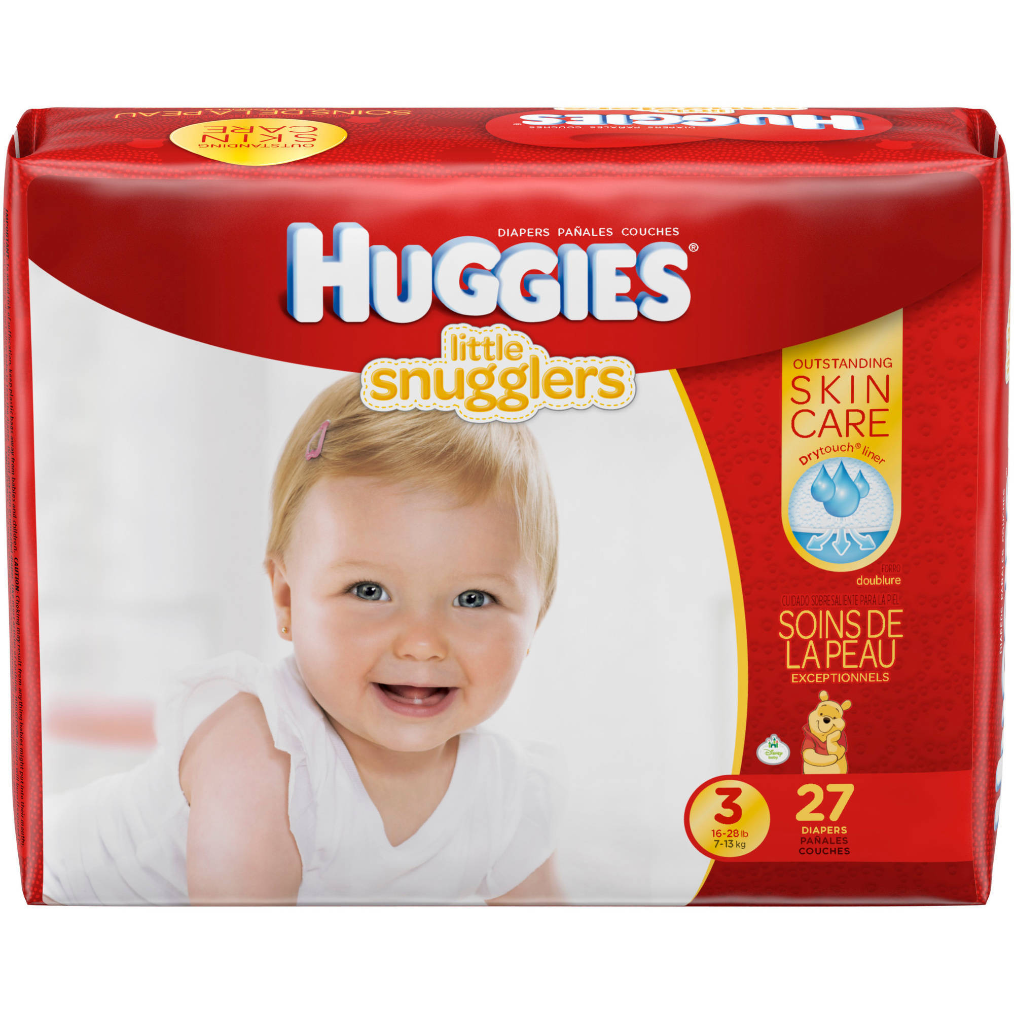 HUGGIES Little Snugglers Diapers, Size 3, Jumbo Pack, 27 count