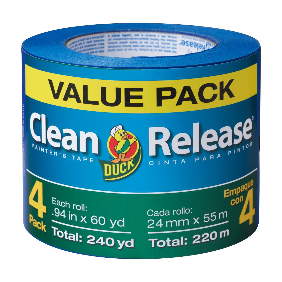 "Duck Brand Clean Release Painter's Tape, Blue, 1.88"" x 60 yard, 4 pack"