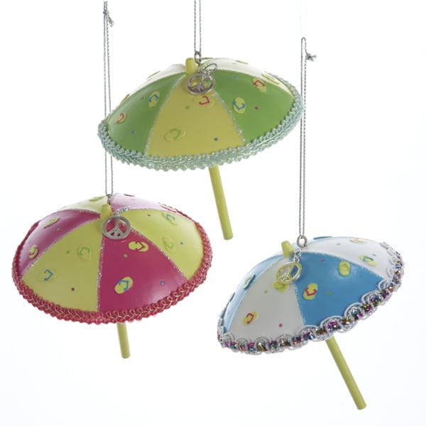 "Club Pack of 12 Beach Party Tropical Flip Flop Umbrella Christmas Ornaments 3.5"""