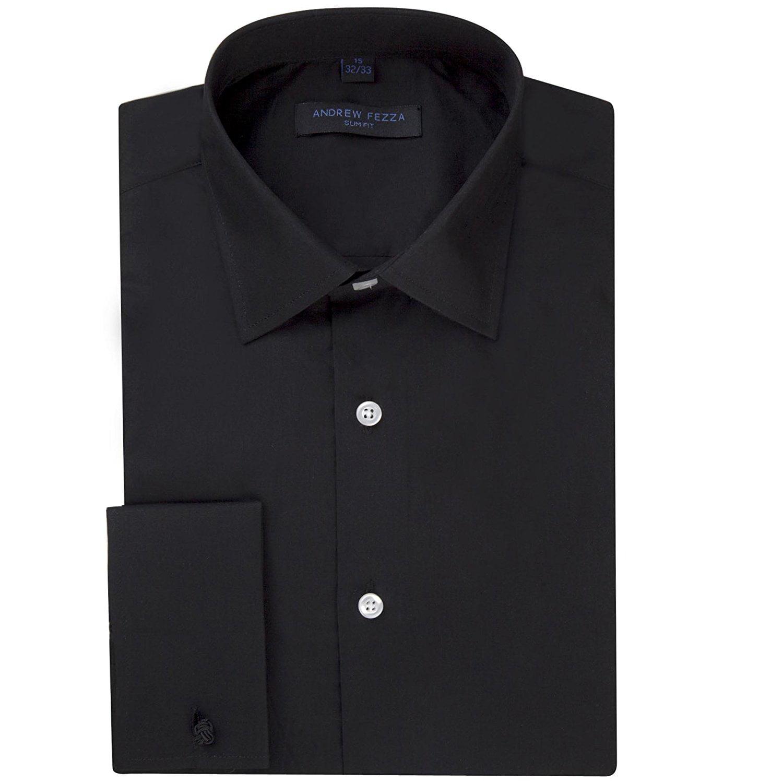 Andrew Fezza Men's Flex Collar Slim Fit French Cuff Solid Dress Shirt - Black - 17.5 2-3