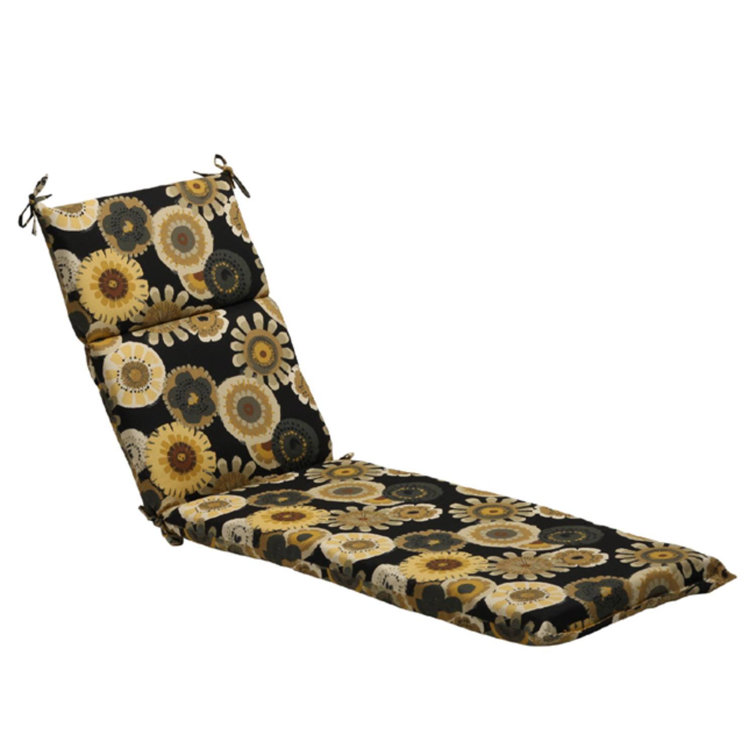 """72.5"""" Eco-Friendly Black and Yellow Floral Outdoor Chaise Lounge Cushion"""