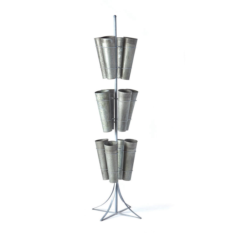 "CC Home 79"" Industrial Galvanized 12-Bucket 3-Tier Floral..."