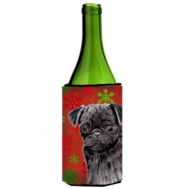 Carolines Treasures SC9406LITERK Pug Red And Green Snowflakes Holiday Christmas Wine bottle sleeve Hugger - image 1 de 1