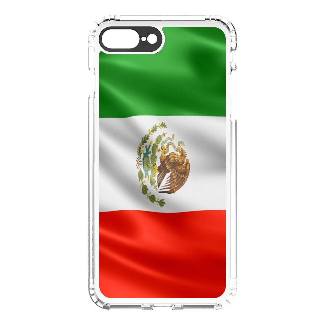 iPhone 7 Plus iPhone 8 Plus SaharaCase ® Clear Shockproof Custom Case By DistinctInk ®- Protective Kit & ZeroDamage Screen Protector - Red White Green Mexican Flag Mexico