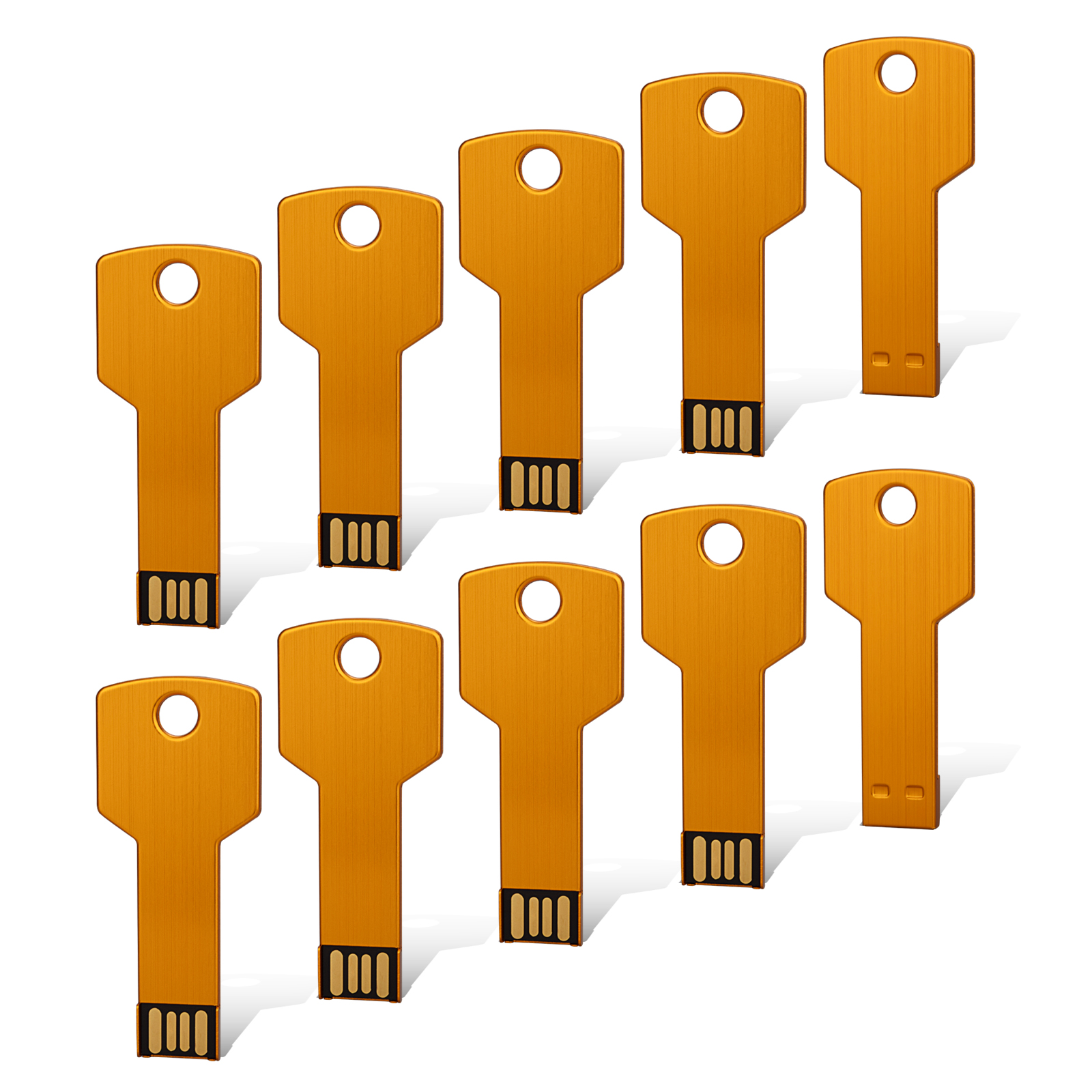 KOOTION 10Pack 4GB Metal Key Design USB Flash Drive, Metal Key Shaped Memory Stick, USB 2.0, Gold