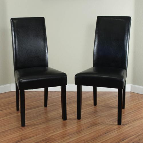Good Monsoon Villa Faux Leather Black Dining Chairs (Set Of 2)