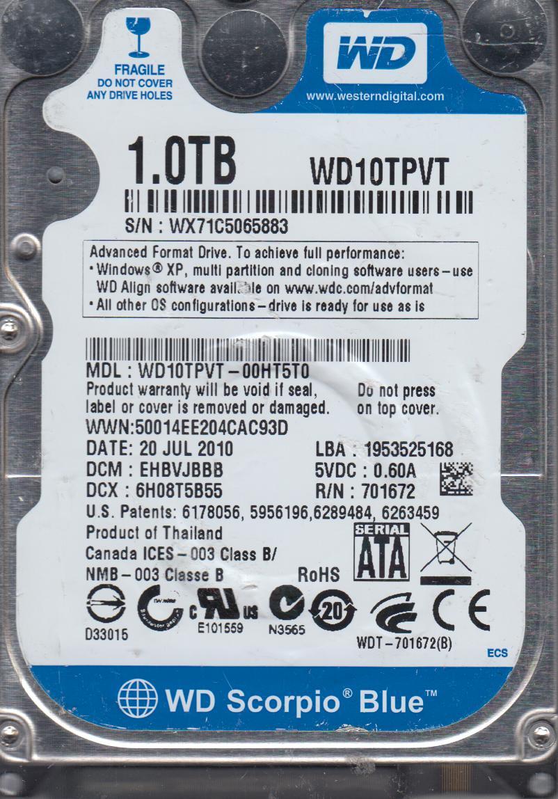 WD10TPVT-00HT5T0, DCM EHBVJBBB, Western Digital 1TB SATA 2.5 Hard Drive by WD