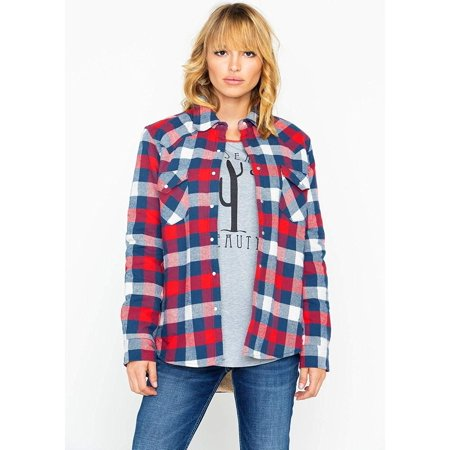 - Wrangler Apparel Womens Ladies Boyfriend Sherpa Flannel XL Red/Blue