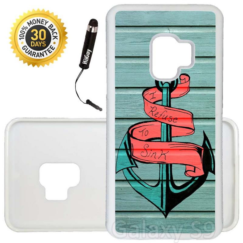 Custom Galaxy S9 Case (Mint Wood Striped Anchor) Edge-to-Edge Rubber White Cover Ultra Slim | Lightweight | Includes Stylus Pen by Innosub