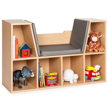 Best Choice Products Multi-Purpose 6-Cubby Kids Bedroom Storage Organizer Bookcases Shelf Furniture Decoration with Cushioned Reading Nook, Brown ()