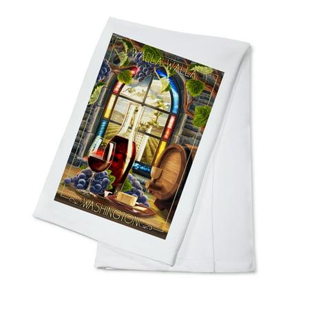 Walla Walla, Washington - Cabernet Sauvignon - Lantern Press Artwork (100% Cotton Kitchen