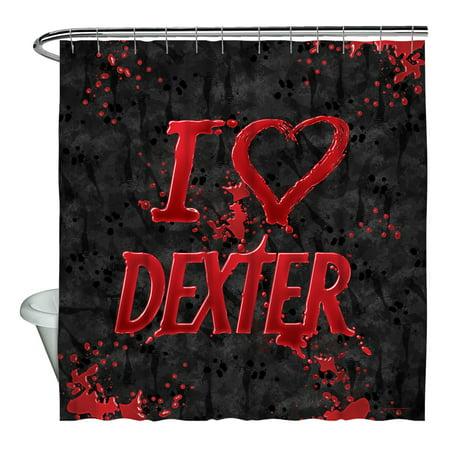 Dexter I Heart Shower Curtain White 71X74
