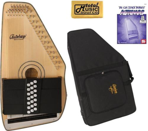 Oscar Schmidt 21 Chord Electric Autoharp, Solid Spruce, Natural Wood, OS120CNE AC445PACK