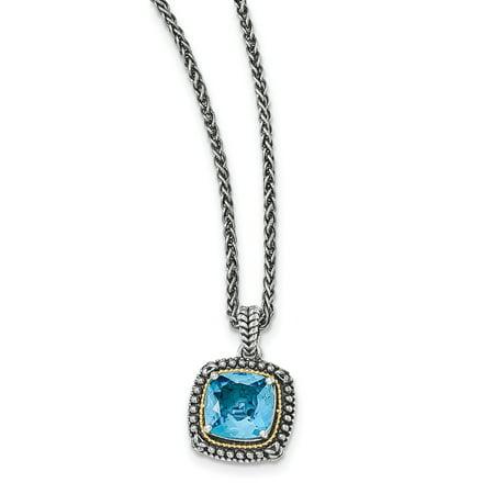 14k Gold Blue Topaz Necklace (14k Yellow Gold w/Sterling Silver Lt Swiss Blue Topaz Necklace LAL79721 )