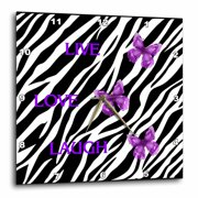 3dRose Zebra Print With 3 Purple Butterflies - Wall Clock, 10 by 10-inch