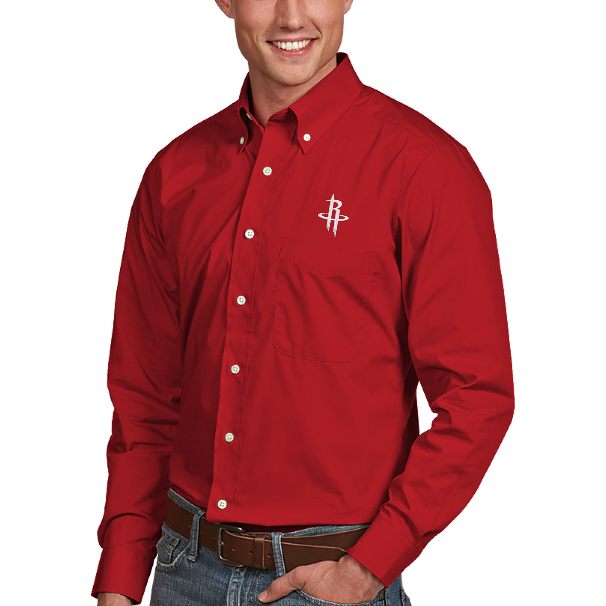 Houston Rockets Antigua Dynasty Button-Down Long Sleeve Shirt - Red