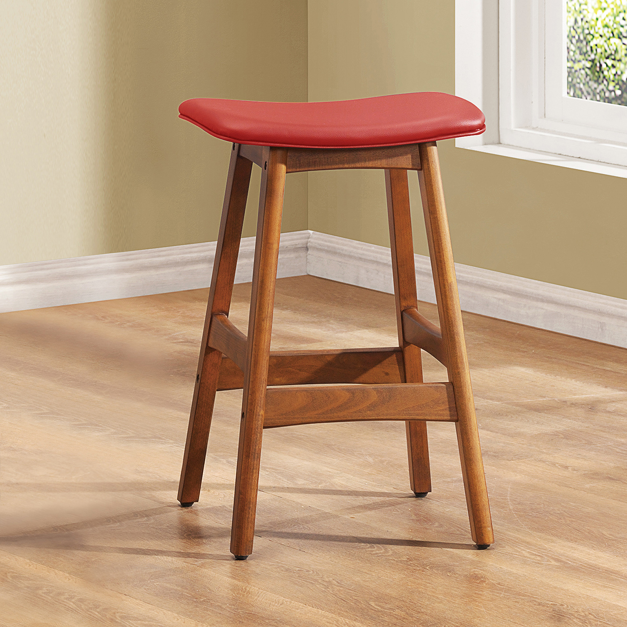 "Red Faux Leather Beech Wood 24"" Counter-Height Stools, Set of 2, Brown"