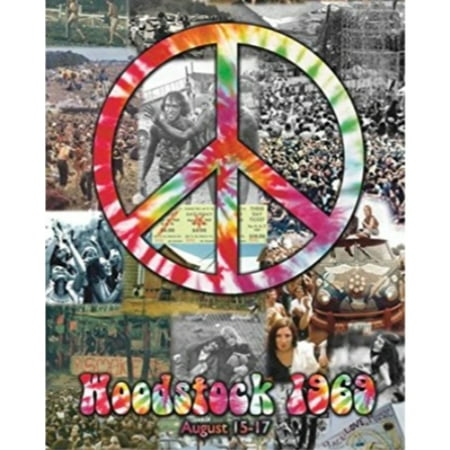 Woodstock and Peace Sign Collage 20x16 Art print Poster 60s Music 1969 Hippies