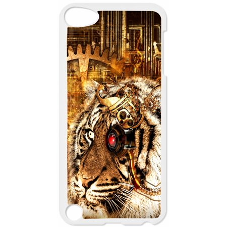 Steampunk Tiger Design Hard White Plastic Case Compatible with the Apple iPod Touch 5th Generation - iTouch 5 Universal (Detroit Tigers Ipod 5 Cases)