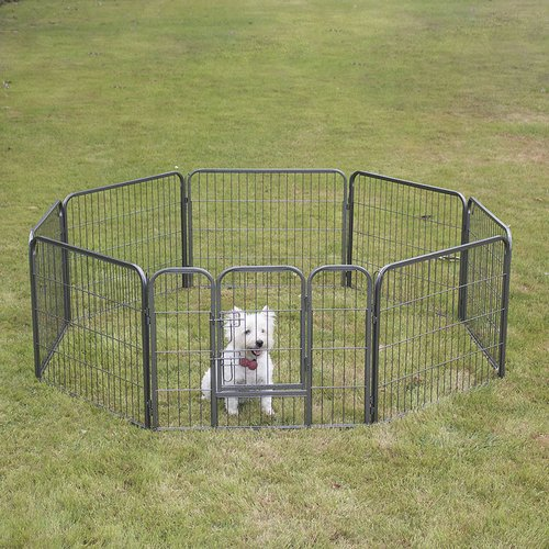 Pet Zone Onebigoutlet© Pet Playpen Exercise Play Pen 8 Panel Kennel Cage Dog Cat Foldable, 24'-inch, Grey