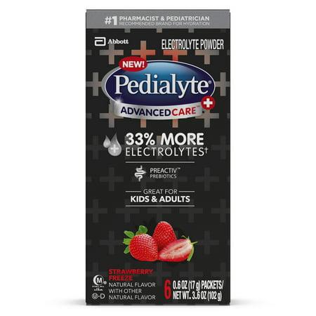 Pedialyte AdvancedCare Plus Electrolyte Powder, with 33% More Electrolytes and PreActiv Prebiotics, Strawberry Freeze, Electrolyte Drink Powder Packets, 0.6 oz (6