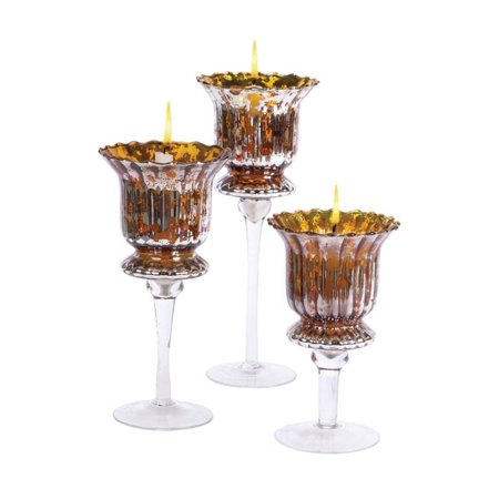 Gold Christmas Candle - Set of 3 Cognac Library Gold Glass Christmas Votive Candle Holders 8