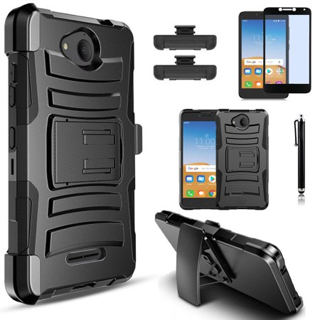 Alcatel Tetra Case, Dual Layers [Combo Holster] And Built-In Kickstand Bundled with [Tempered Glass Screen Protector] Hybird Shockproof And Circlemalls Stylus Pen