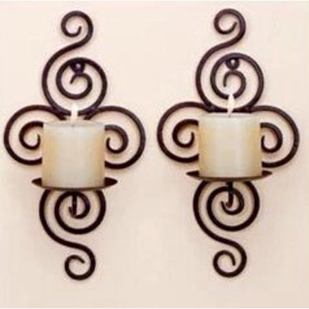 Mr.Garden Iron Hanging Wall Candle Holders, Set of 2 ()