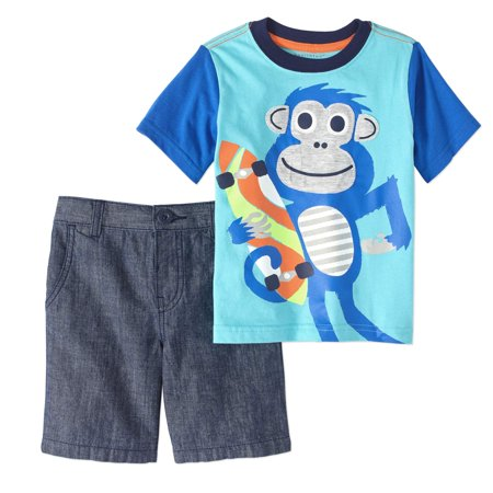 Toddler Boy Graphic T-shirt & Shorts, 2pc Outfit Set - Toddler Boy Valentine Outfit