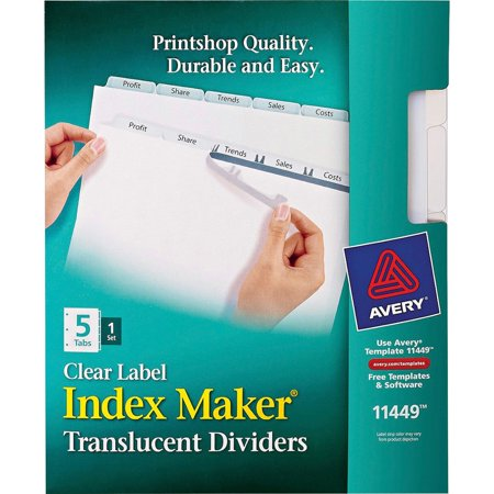 Avery Index Maker Print & Apply Clear Label Plastic Dividers, 5-Tab, Letter Avery Clear Label Dividers Template