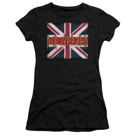 Def Leppard - Union Jack - Juniors Teen Girls Cap Sleeve Shirt - Medium