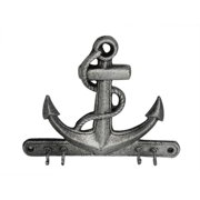 Handcrafted Model Ships K-717-silver 8 in. Cast Iron Anchor With Hooks - Rustic Silver
