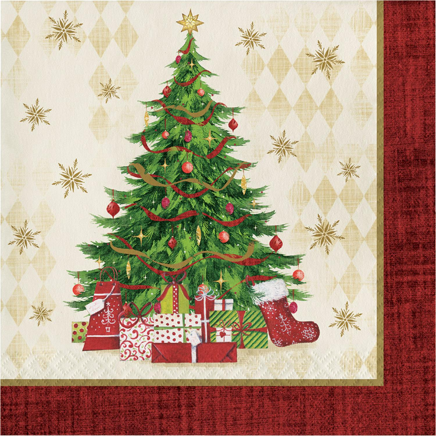 Club Pack of 192 Red and Green Tasteful Tree Square Beverage Disposable Party Napkins 6.5""