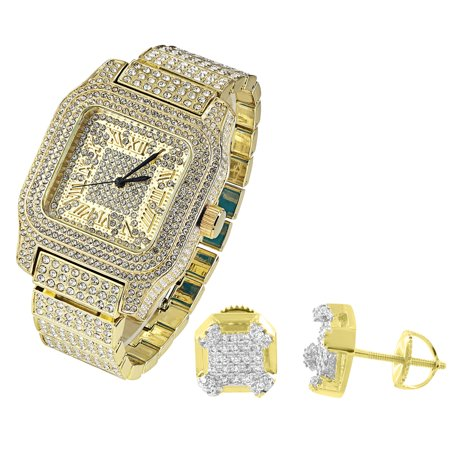 - Gold Tone Mens Watch Techno Pave Full Iced Out Simulated Diamonds Studs Earrings