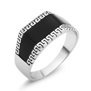 White Goldplated Men's Greek Style Onyx Square Ring Size 12