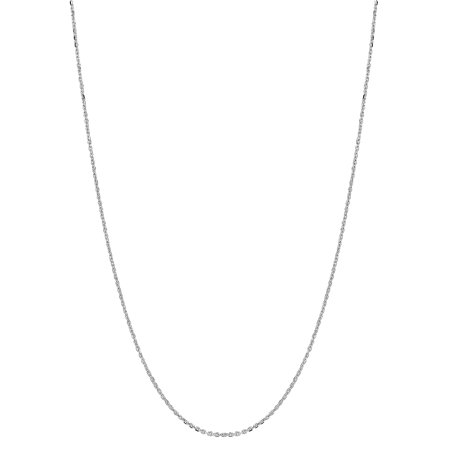 14k Solid White Gold Diamond Cut Cable Link Chain Necklace 1.1 Mm 24 Inches