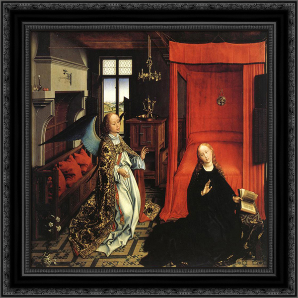 Annunciation Triptych: central panel [detail: 1] 21x20 Black Ornate Wood Framed Canvas Art by Weyden, Rogier van der