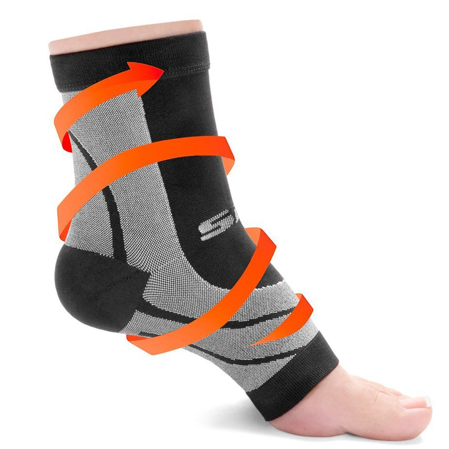 SLS3 Compression Ankle Plantar Fasciitis Sleeves - Black - S (M6-8/W7-9)
