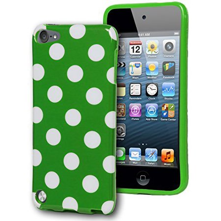 BasTexWireless Bastex Green TPU Case with White Polka Dots for Apple iPod Touch 5, 5th Generation [Compatible with iPod Touch 6] ()