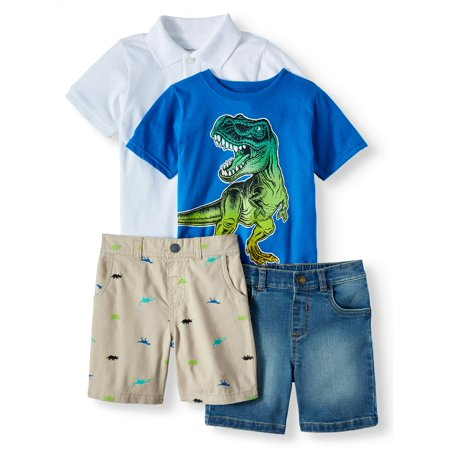 Garanimals Pique Polo, Graphic T-Shirt, Print Shorts, & Solid Shorts, 4pc Outfit Set (Toddler Boys)