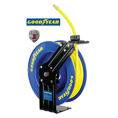 (Goodyear L815153G Steel Retractable Air Compressor/Water Hose Reel with 3/8 in. x 50 ft. Rubber Hose, Max. 300PSI)