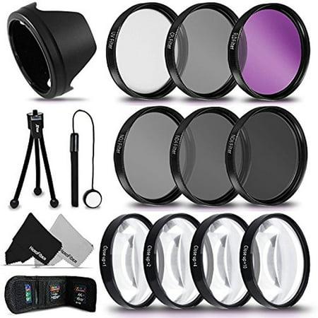 PRO 58MM Lens Filters + 58mm Lens Hood KIT for CANON EOS 70D 60D 7D 6D 5D 5DS 5DSR 7D EOS REBEL T6i T6S T5 T5i T4i T3 T3i T2i SL1 EOS 760D 750D 700D 650D 600D 550D 1200D 1100D 100D Cameras and (Best Gopro Lens Filter)