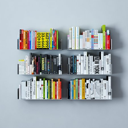Wall Mount Metal U Shaped Modern Bookcase Floating Shelves By Wallniture Set Of 6 White