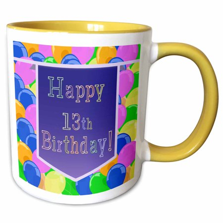 3dRose Balloons with Purple Banner Happy 13th Birthday - Two Tone Yellow Mug, 11-ounce