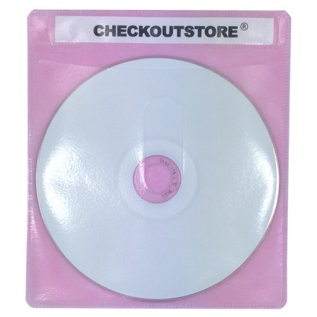 1000 Sleeves ((1000) CheckOutStore Premium CD Double-sided Storage Plastic Sleeve (Pink) )