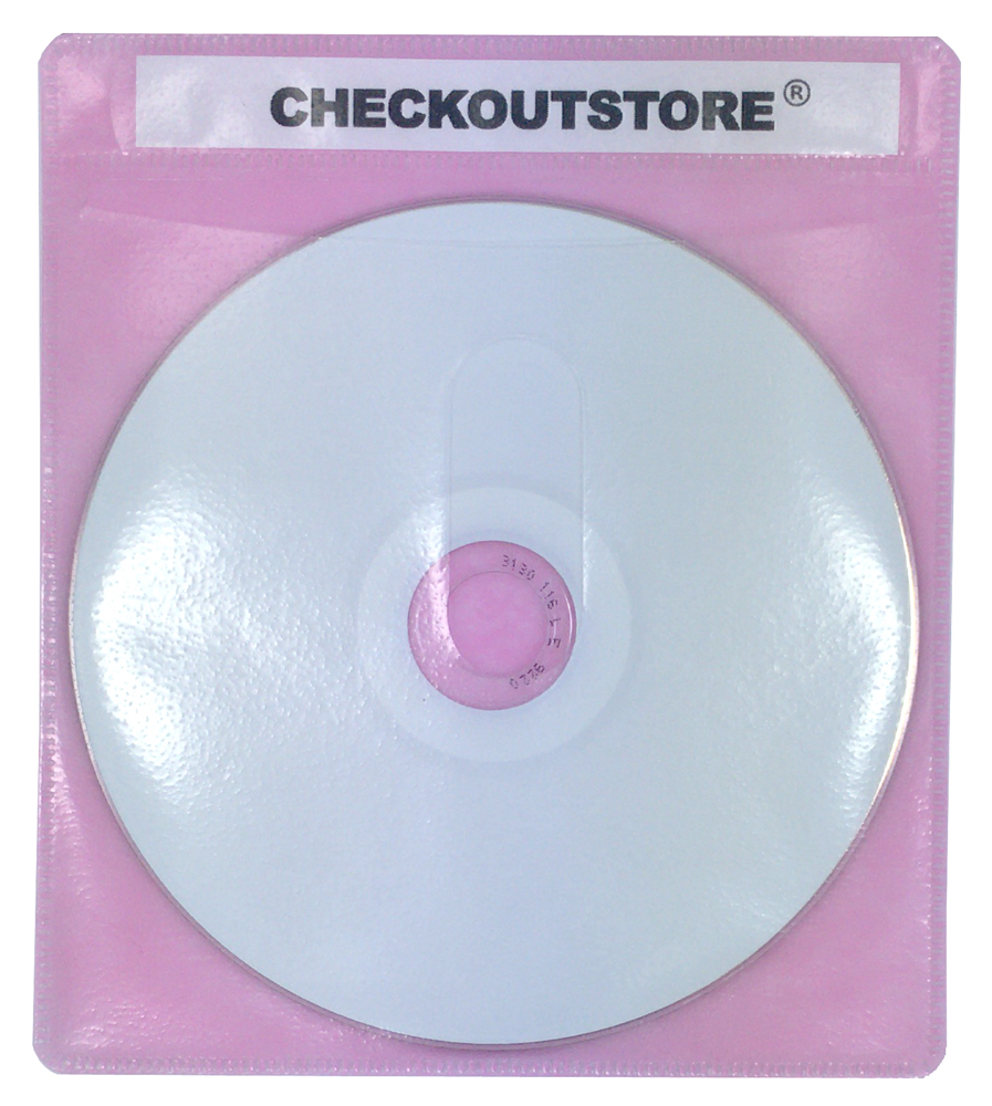 (1000) CheckOutStore® PREMIUM CD Double-sided Storage Plastic Sleeve (Pink)