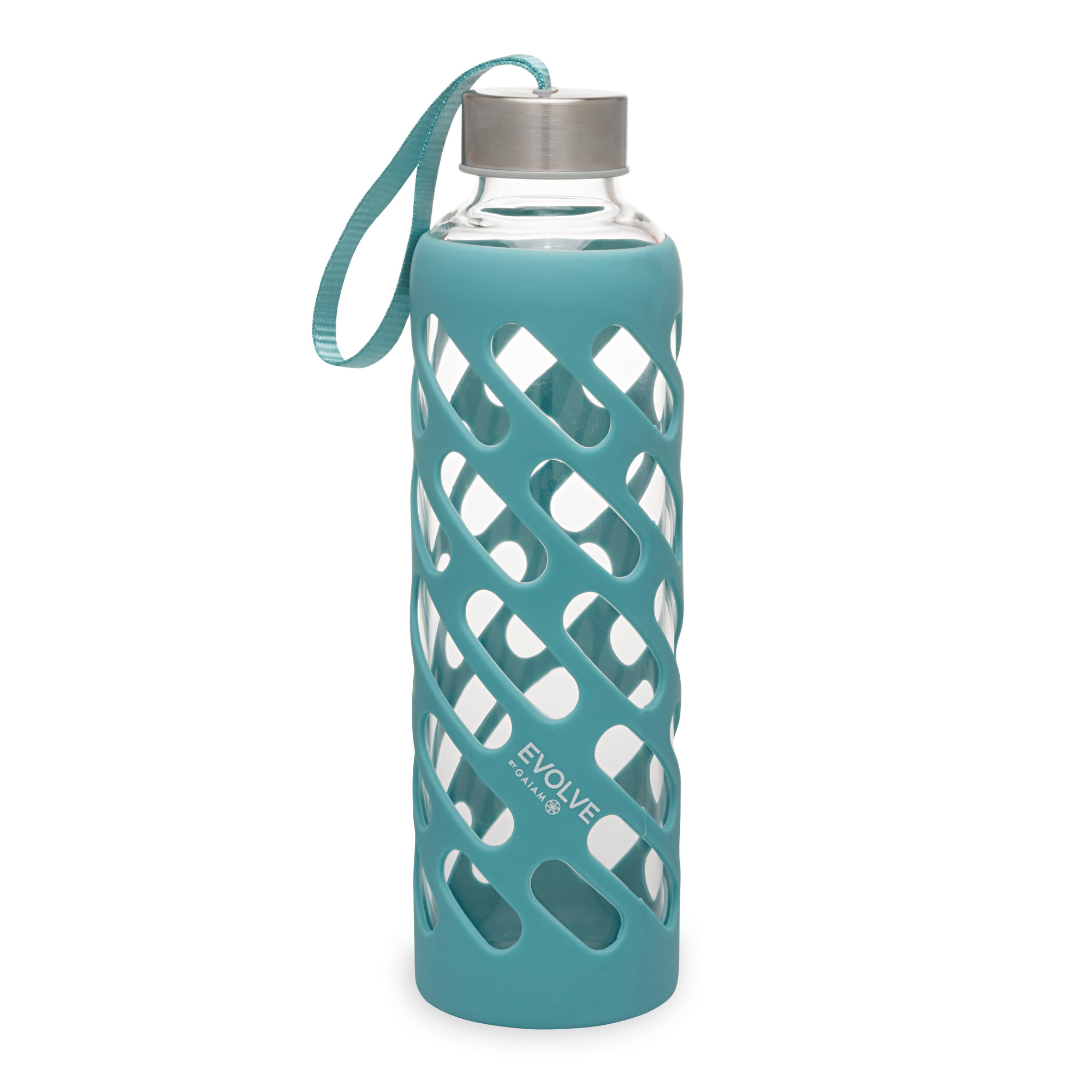 Evolve By Gaiam Sure Grip Glass Water Bottle With Silicone Sleeve Viridian Blue 20oz Walmart Com Walmart Com