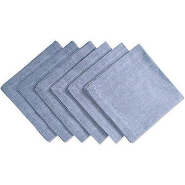 "DII Solid Chambray Cotton Kitchen Napkin Set, Set of 6, 20""x20"", 100% Cotton, Multiple Colors"