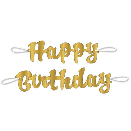 3.5ft Gold Script Happy Birthday Banner, 2pc](Happy 90th Birthday Banner)