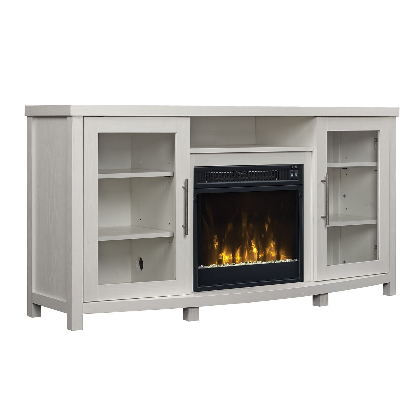 """Sea Meadow White TV Stand for TVs up to 60"""" with Electric Fireplace"""